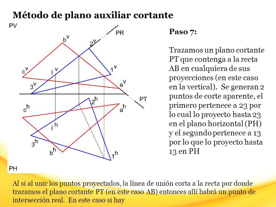 Método de plano auxiliar cortante Paso 8: Ya encontramos el segundo punto de intersección real (J), lo identificamos en la vista horizontal.