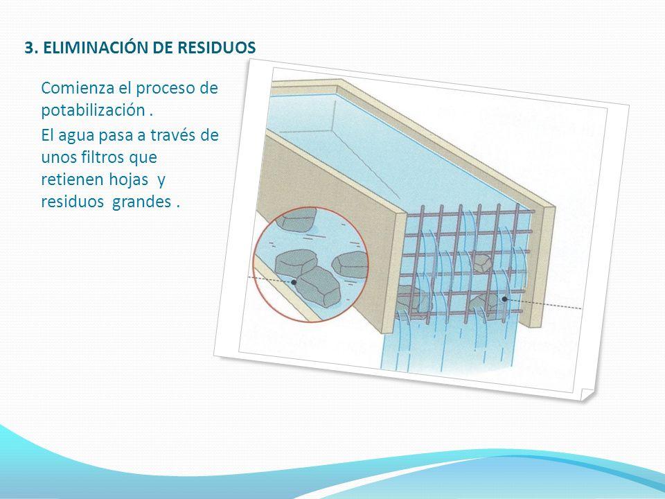 3. ELIMINACIÓN DE RESIDUOS Comienza el proceso de potabilización. El agua pasa a través de unos filtros que retienen hojas y residuos grandes.