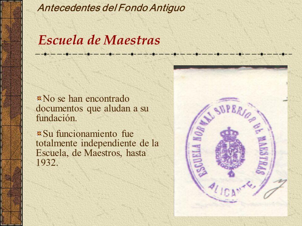 Antecedentes del Fondo Antiguo Escuela de Maestras No se han encontrado documentos que aludan a su fundación. Su funcionamiento fue totalmente indepen