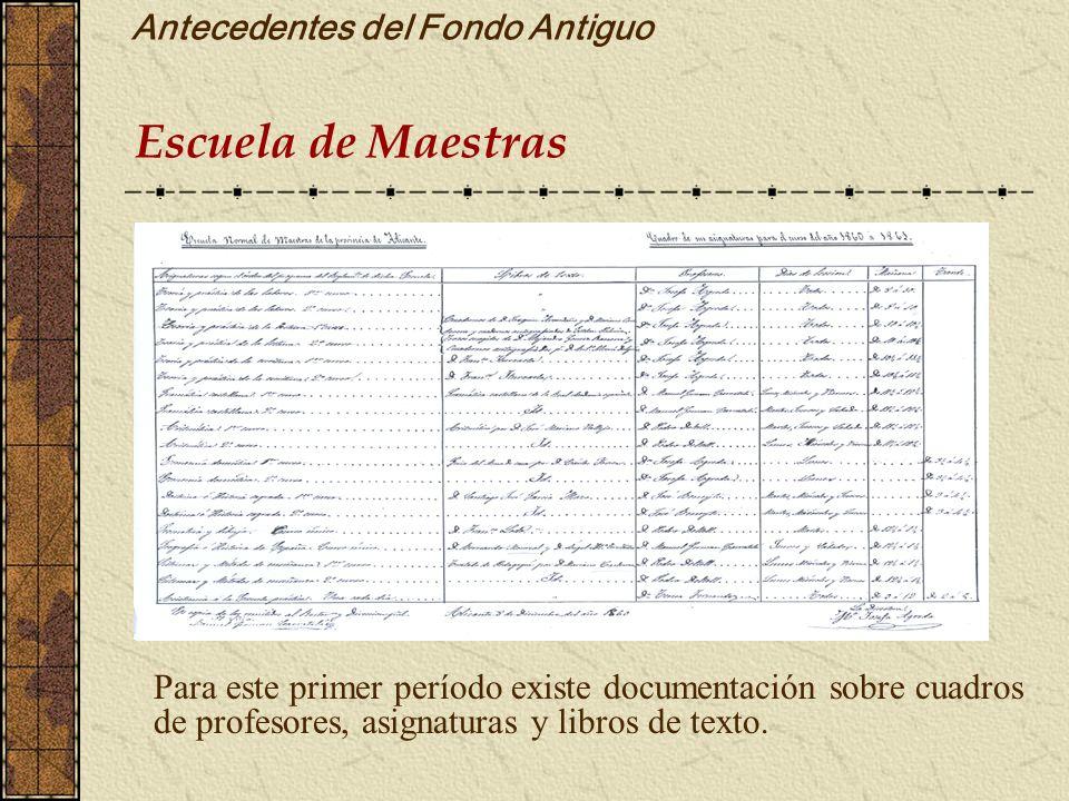 Antecedentes del Fondo Antiguo Escuela de Maestras Para este primer período existe documentación sobre cuadros de profesores, asignaturas y libros de