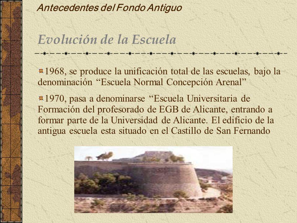 Antecedentes del Fondo Antiguo Evolución de la Escuela 1968, se produce la unificación total de las escuelas, bajo la denominación Escuela Normal Conc