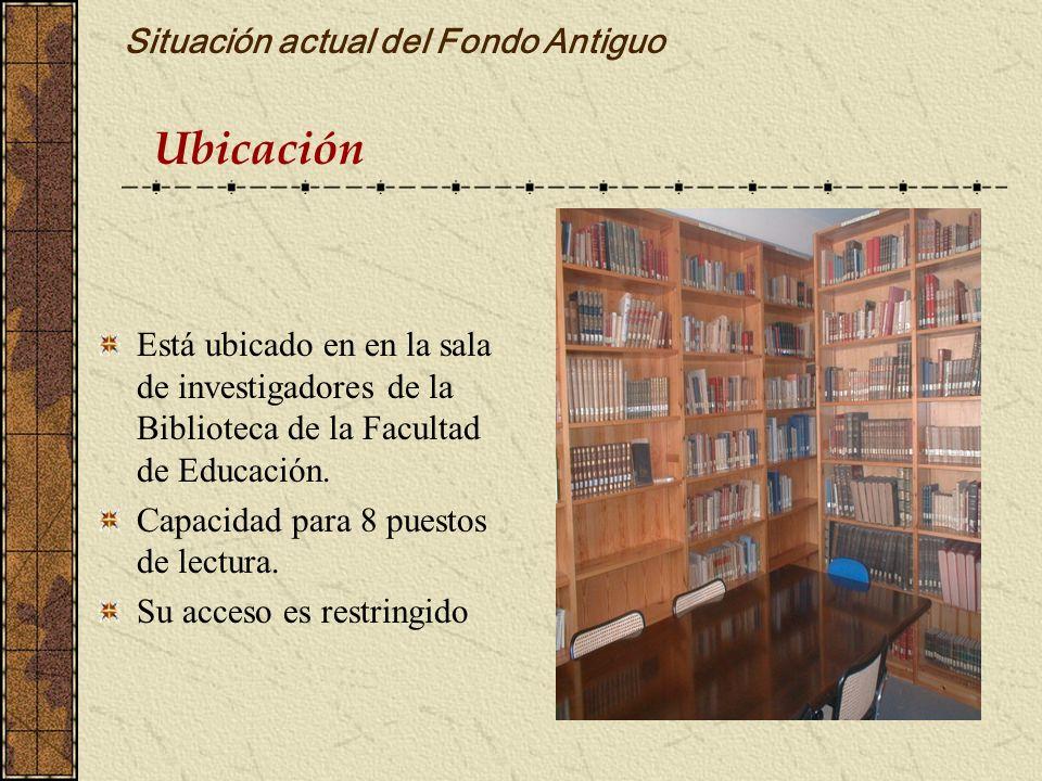 Ubicación Está ubicado en en la sala de investigadores de la Biblioteca de la Facultad de Educación. Capacidad para 8 puestos de lectura. Su acceso es