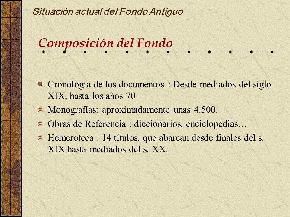 Composición del Fondo Situación actual del Fondo Antiguo Cronología de los documentos : Desde mediados del siglo XIX, hasta los años 70 Monografías: a