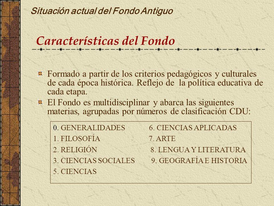 Características del Fondo Situación actual del Fondo Antiguo Formado a partir de los criterios pedagógicos y culturales de cada época histórica. Refle