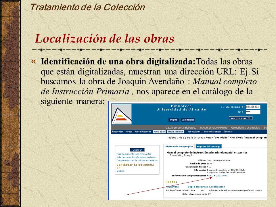Tratamiento de la Colección Localización de las obras Identificación de una obra digitalizada:Todas las obras que están digitalizadas, muestran una di