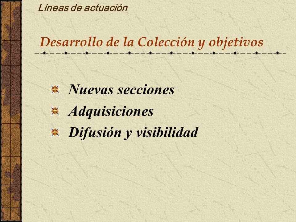 Líneas de actuación Desarrollo de la Colección y objetivos Nuevas secciones Adquisiciones Difusión y visibilidad