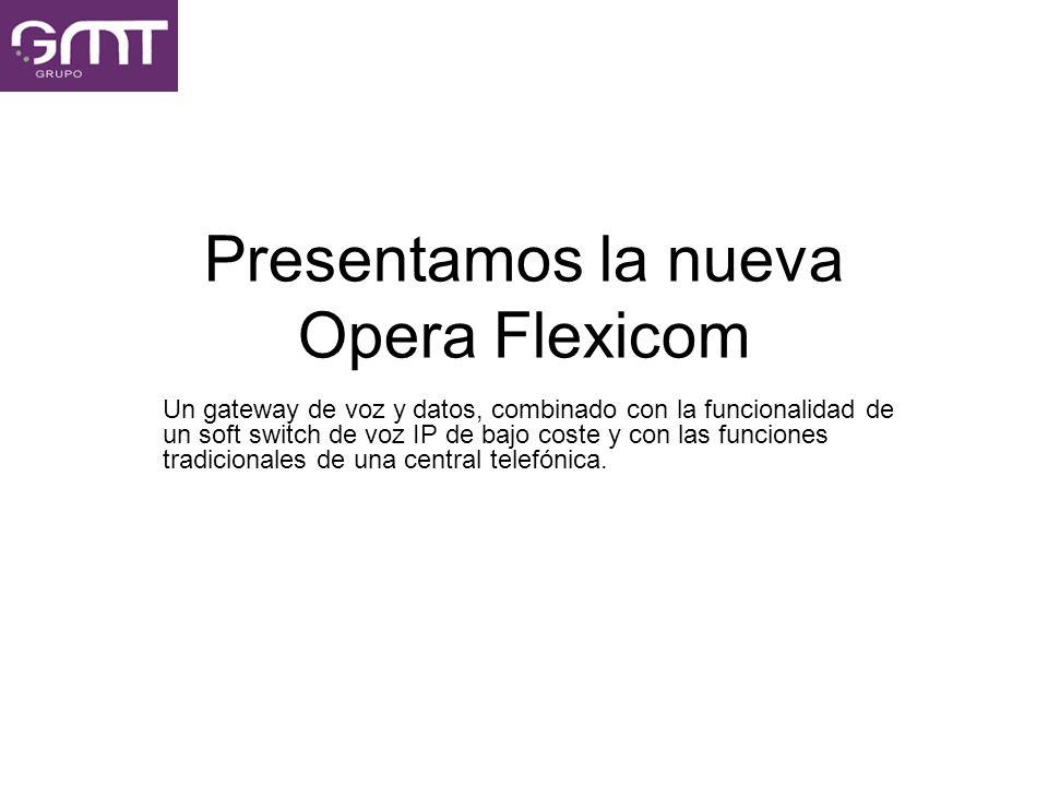Presentamos la nueva Opera Flexicom Un gateway de voz y datos, combinado con la funcionalidad de un soft switch de voz IP de bajo coste y con las func