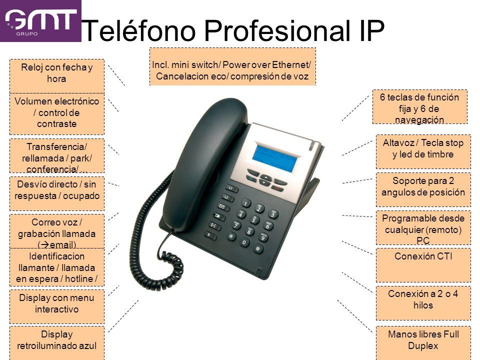 Teléfono Profesional IP 6 teclas de función fija y 6 de navegación Altavoz / Tecla stop y led de timbre Soporte para 2 angulos de posición Programable