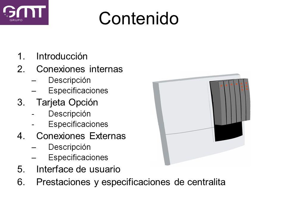Contenido 1.Introducción 2.Conexiones internas –Descripción –Especificaciones 3.Tarjeta Opción -Descripción -Especificaciones 4.Conexiones Externas –D