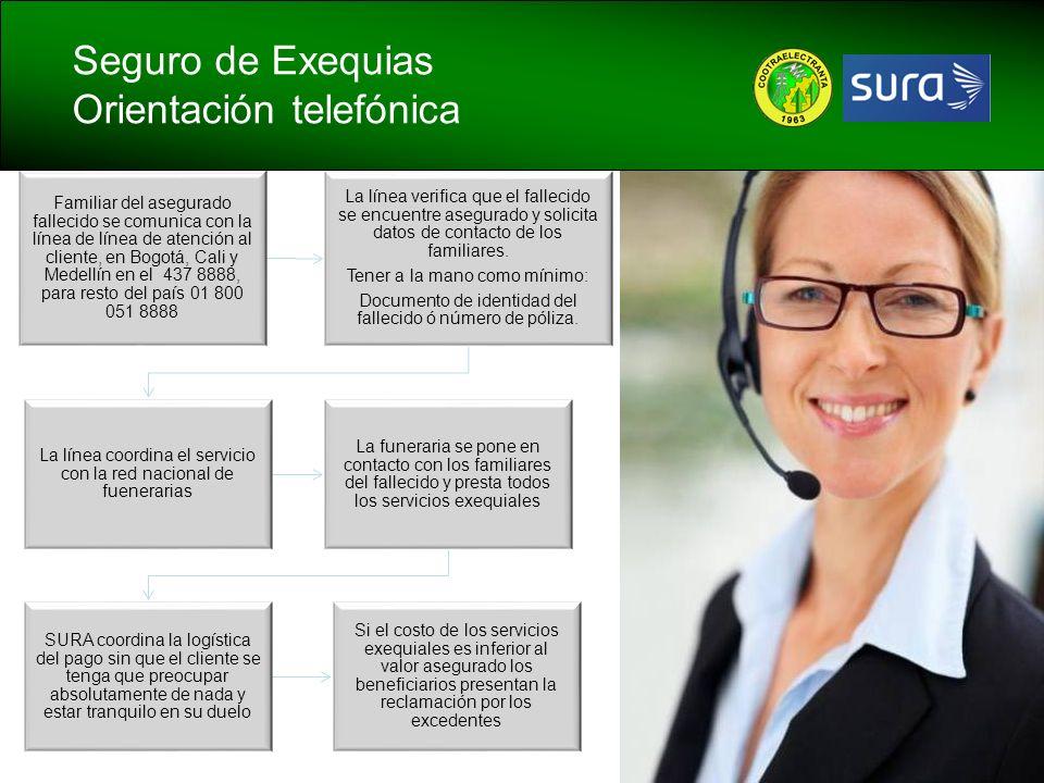 Familiar del asegurado fallecido se comunica con la línea de línea de atención al cliente, en Bogotá, Cali y Medellín en el 437 8888, para resto del p