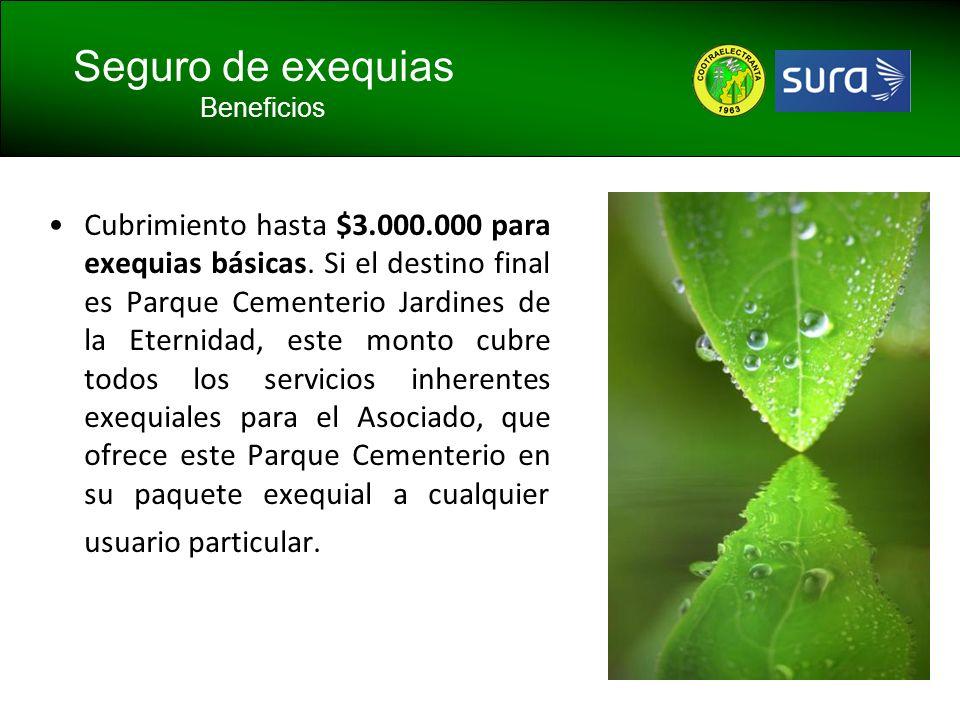 Cubrimiento hasta $3.000.000 para exequias básicas. Si el destino final es Parque Cementerio Jardines de la Eternidad, este monto cubre todos los serv