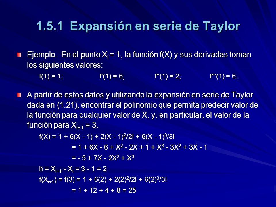 1.5.1 Expansión en serie de Taylor Ejemplo.