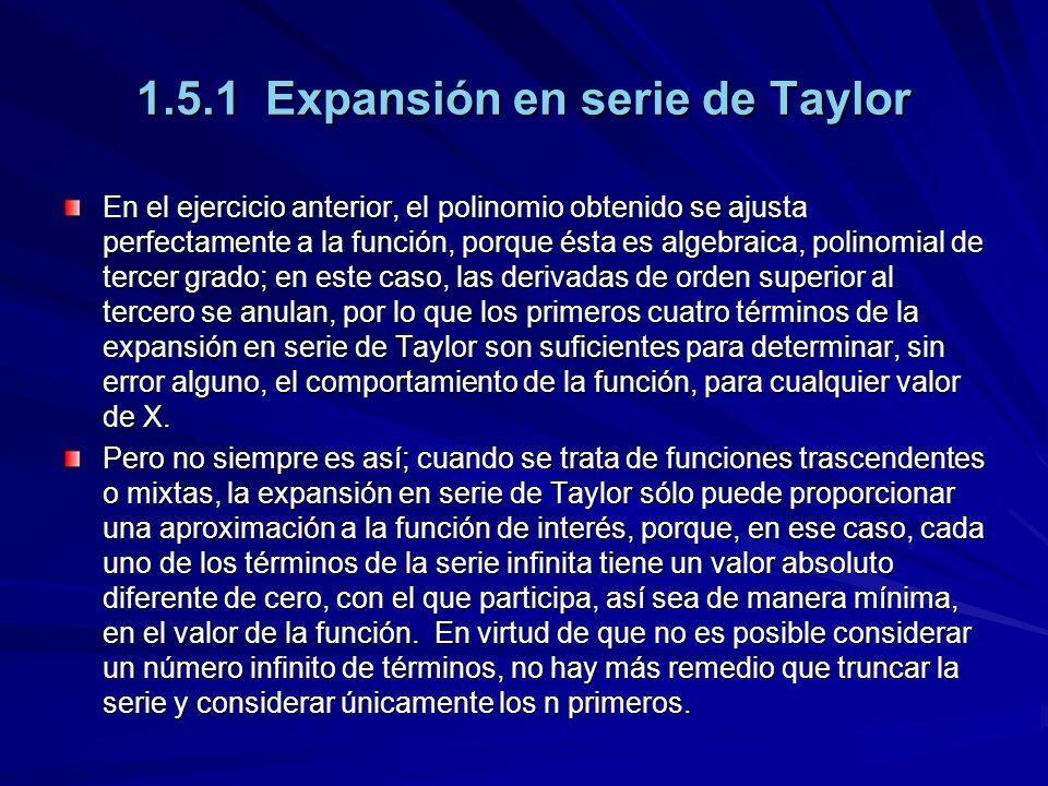 1.5.1 Expansión en serie de Taylor En el ejercicio anterior, el polinomio obtenido se ajusta perfectamente a la función, porque ésta es algebraica, polinomial de tercer grado; en este caso, las derivadas de orden superior al tercero se anulan, por lo que los primeros cuatro términos de la expansión en serie de Taylor son suficientes para determinar, sin error alguno, el comportamiento de la función, para cualquier valor de X.