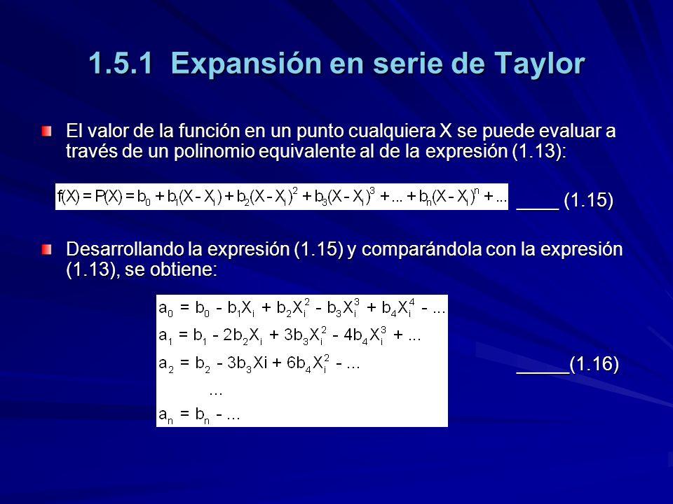 1.5.1 Expansión en serie de Taylor El valor de la función en un punto cualquiera X se puede evaluar a través de un polinomio equivalente al de la expresión (1.13): ____ (1.15) ____ (1.15) Desarrollando la expresión (1.15) y comparándola con la expresión (1.13), se obtiene: _____(1.16) _____(1.16)