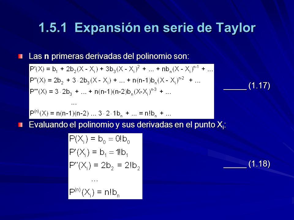 1.5.1 Expansión en serie de Taylor Las n primeras derivadas del polinomio son: _____ (1.17) Evaluando el polinomio y sus derivadas en el punto X i : _____ (1.18)
