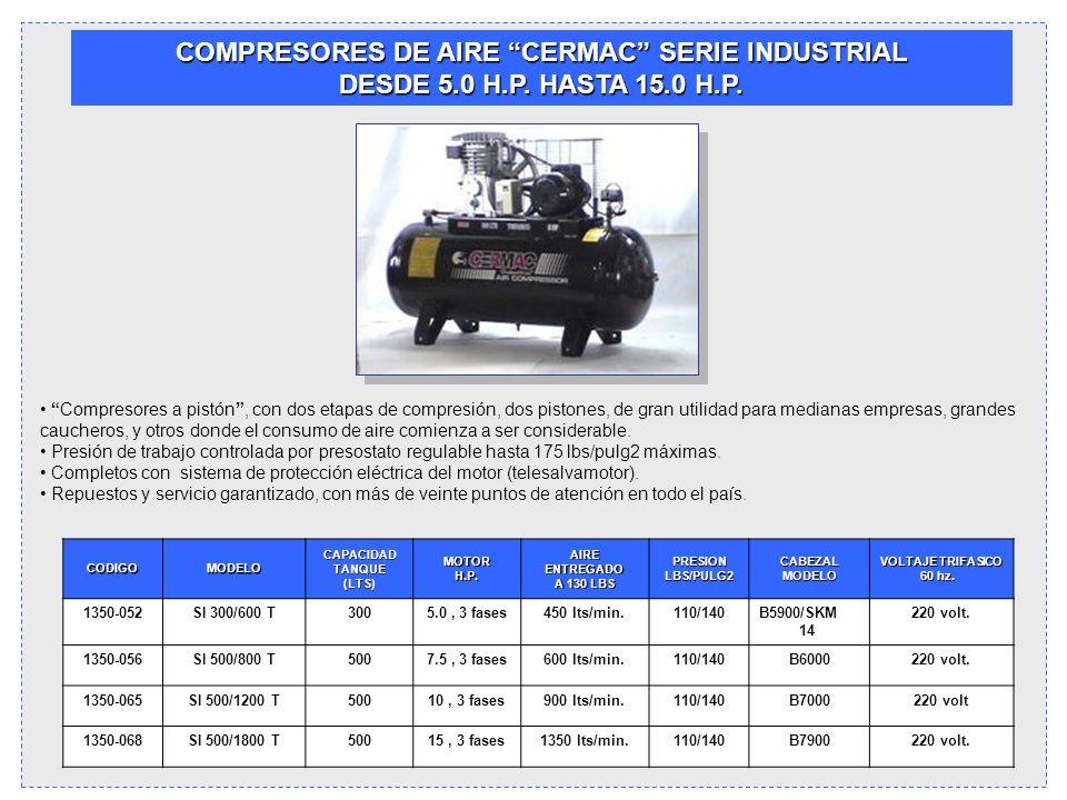 COMPRESORES DE AIRE CERMAC SERIE INDUSTRIAL DESDE 5.0 H.P. HASTA 15.0 H.P. Compresores a pistón, con dos etapas de compresión, dos pistones, de gran u