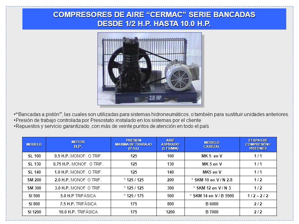 COMPRESORES DE AIRE CERMAC SERIE BANCADAS DESDE 1/2 H.P. HASTA 10.0 H.P. Bancadas a pistón, las cuales son utilizadas para sistemas hidroneumáticos, o