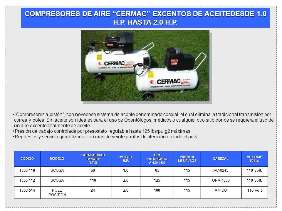 COMPRESORES DE AIRE CERMAC EXCENTOS DE ACEITEDESDE 1.0 H.P. HASTA 2.0 H.P. Compresores a pistón, con novedoso sistema de acople denominado coaxial, el