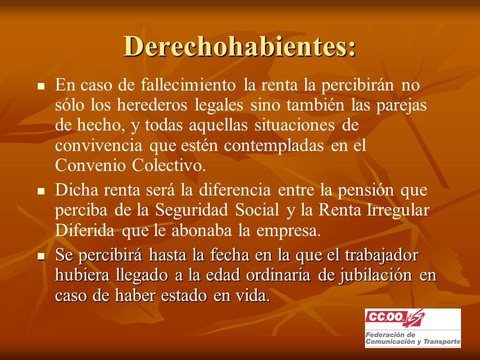 Derechohabientes: En caso de fallecimiento la renta la percibirán no sólo los herederos legales sino también las parejas de hecho, y todas aquellas situaciones de convivencia que estén contempladas en el Convenio Colectivo.