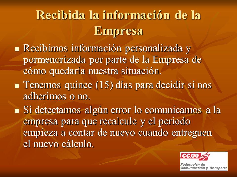 Recibida la información de la Empresa Recibimos información personalizada y pormenorizada por parte de la Empresa de cómo quedaría nuestra situación.