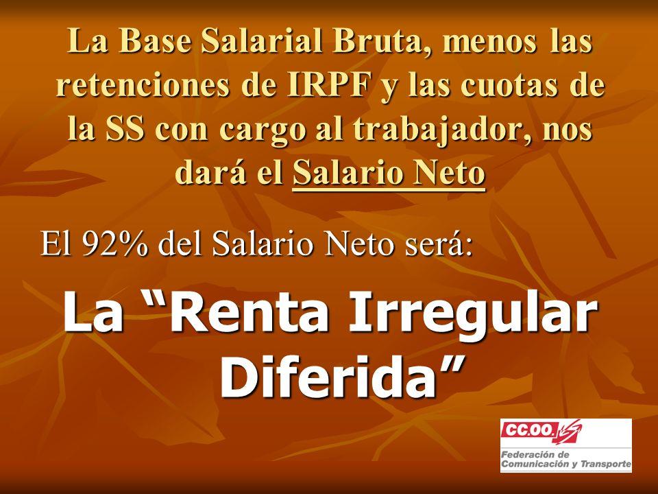 La Base Salarial Bruta, menos las retenciones de IRPF y las cuotas de la SS con cargo al trabajador, nos dará el Salario Neto El 92% del Salario Neto será: La Renta Irregular Diferida