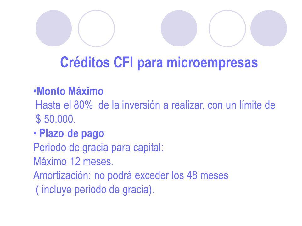 Créditos CFI para microempresas Monto Máximo Hasta el 80% de la inversión a realizar, con un límite de $ 50.000.
