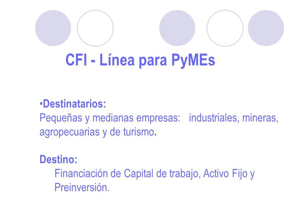 CFI - Línea para PyMEs Destinatarios: Pequeñas y medianas empresas: industriales, mineras, agropecuarias y de turismo.