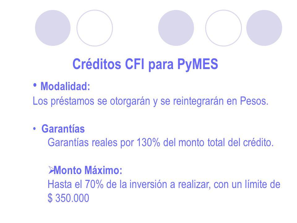 Créditos CFI para PyMES Modalidad: Los préstamos se otorgarán y se reintegrarán en Pesos.
