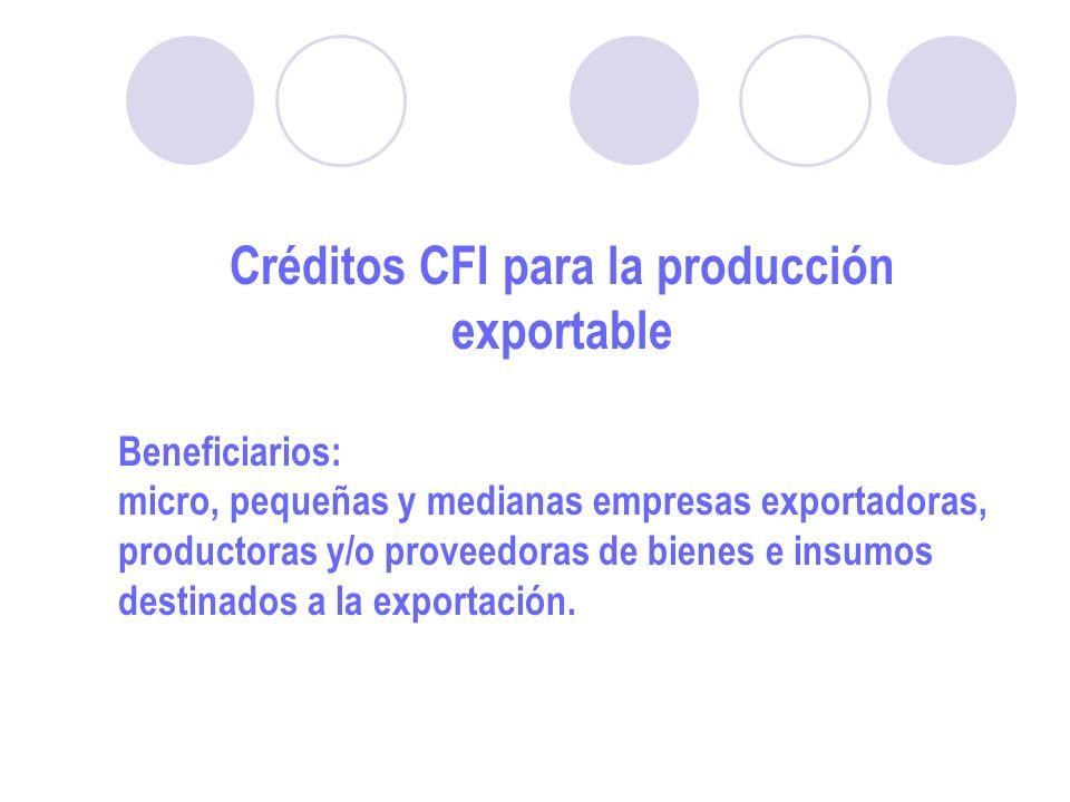 Créditos CFI para la producción exportable Beneficiarios: micro, pequeñas y medianas empresas exportadoras, productoras y/o proveedoras de bienes e insumos destinados a la exportación.