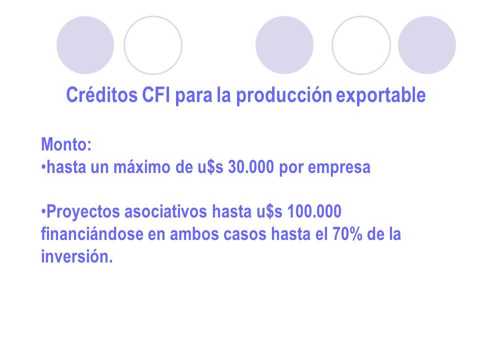 Créditos CFI para la producción exportable Monto: hasta un máximo de u$s 30.000 por empresa Proyectos asociativos hasta u$s 100.000 financiándose en ambos casos hasta el 70% de la inversión.