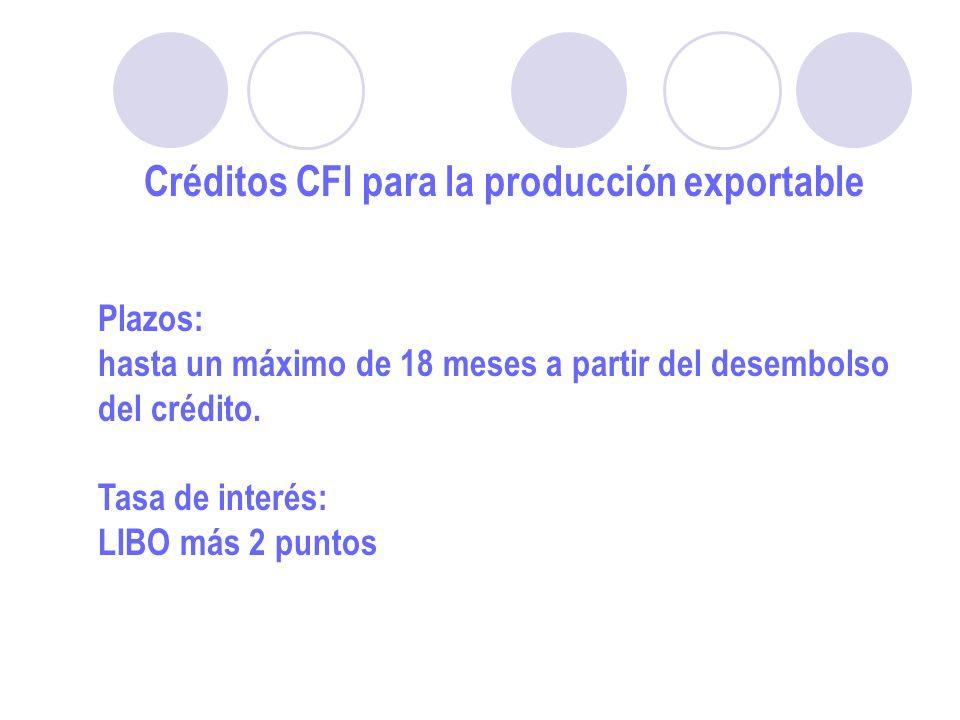 Créditos CFI para la producción exportable Plazos: hasta un máximo de 18 meses a partir del desembolso del crédito.