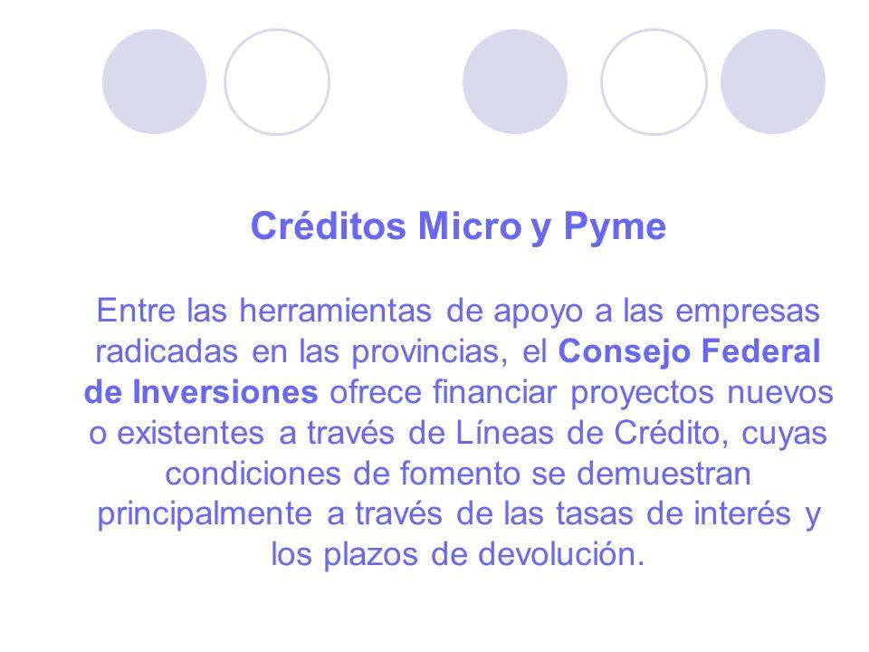 Créditos Micro y Pyme Entre las herramientas de apoyo a las empresas radicadas en las provincias, el Consejo Federal de Inversiones ofrece financiar proyectos nuevos o existentes a través de Líneas de Crédito, cuyas condiciones de fomento se demuestran principalmente a través de las tasas de interés y los plazos de devolución.