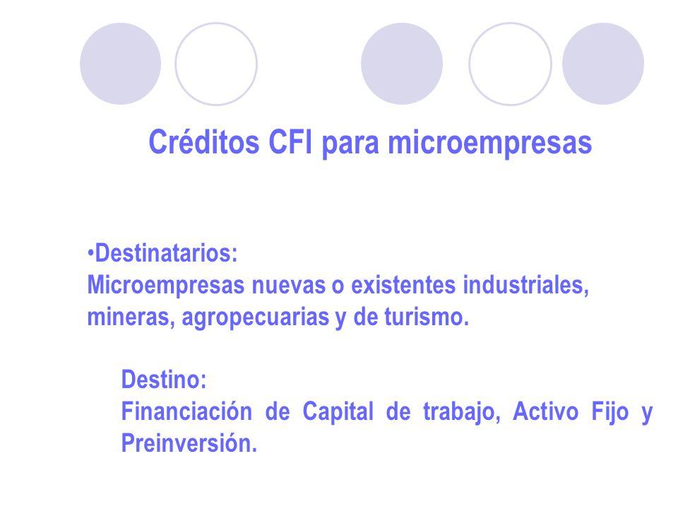 Créditos CFI para microempresas Destinatarios: Microempresas nuevas o existentes industriales, mineras, agropecuarias y de turismo.