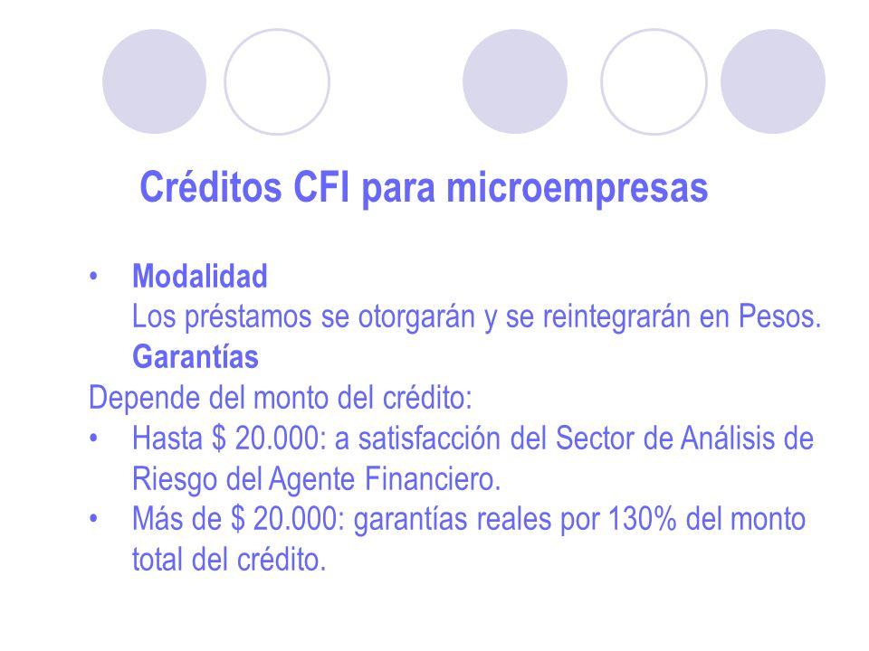 Créditos CFI para microempresas Modalidad Los préstamos se otorgarán y se reintegrarán en Pesos.