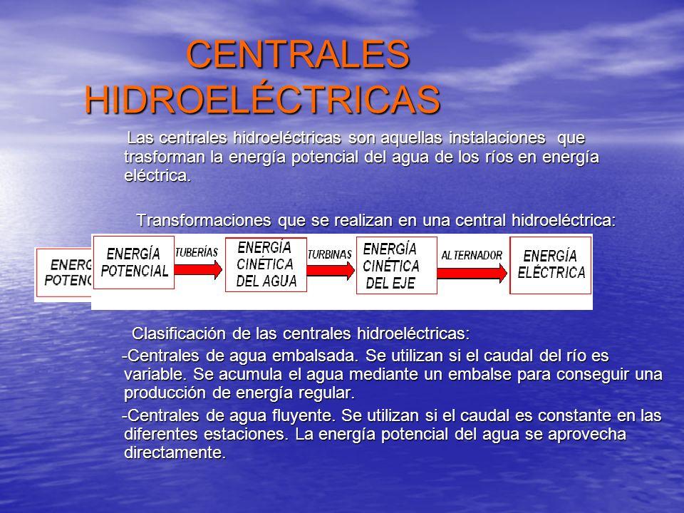 CENTRALES HIDROELÉCTRICAS CENTRALES HIDROELÉCTRICAS Las centrales hidroeléctricas son aquellas instalaciones que trasforman la energía potencial del a