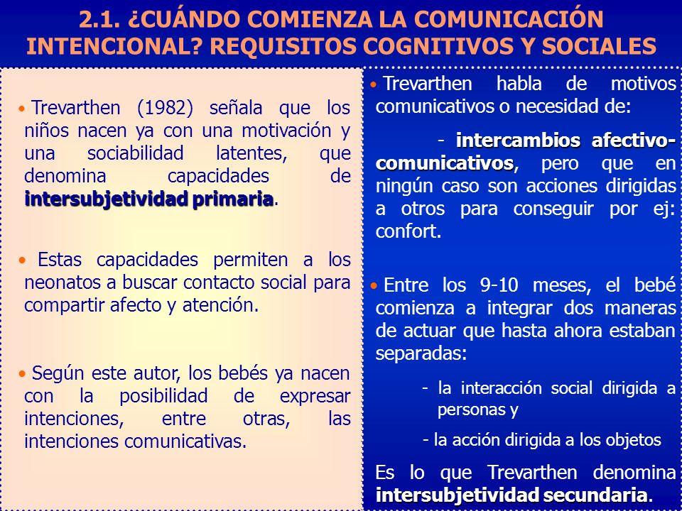 Trevarthen habla de motivos comunicativos o necesidad de: intercambios afectivo- comunicativos - intercambios afectivo- comunicativos, pero que en ningún caso son acciones dirigidas a otros para conseguir por ej: confort.
