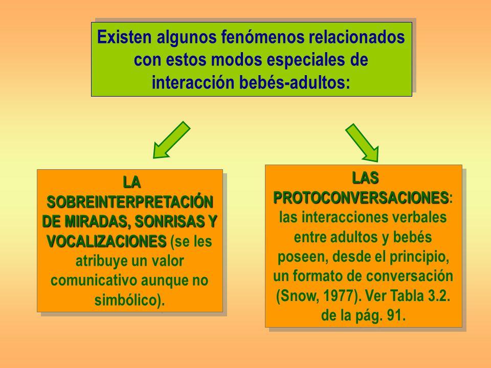 Existen algunos fenómenos relacionados con estos modos especiales de interacción bebés-adultos: LAS PROTOCONVERSACIONES LAS PROTOCONVERSACIONES: las interacciones verbales entre adultos y bebés poseen, desde el principio, un formato de conversación (Snow, 1977).