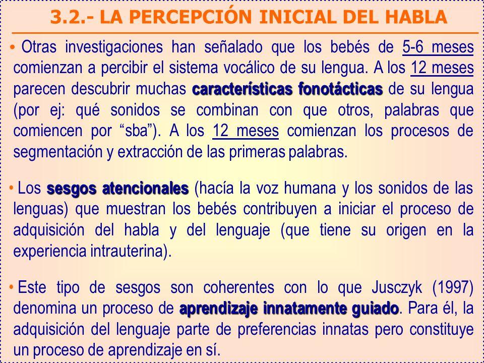 3.2.- LA PERCEPCIÓN INICIAL DEL HABLA características fonotácticas Otras investigaciones han señalado que los bebés de 5-6 meses comienzan a percibir el sistema vocálico de su lengua.