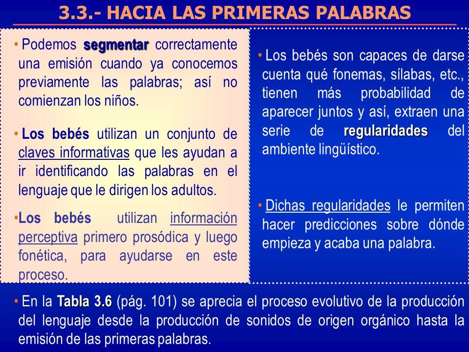 3.3.- HACIA LAS PRIMERAS PALABRAS segmentar Podemos segmentar correctamente una emisión cuando ya conocemos previamente las palabras; así no comienzan los niños.