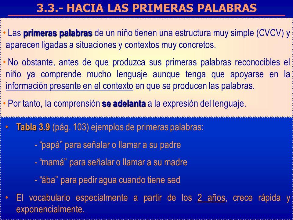 3.3.- HACIA LAS PRIMERAS PALABRAS primeras palabras Las primeras palabras de un niño tienen una estructura muy simple (CVCV) y aparecen ligadas a situaciones y contextos muy concretos.