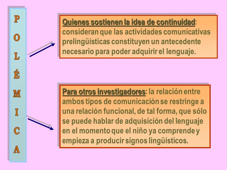 Quienes sostienen la idea de continuidad Quienes sostienen la idea de continuidad: consideran que las actividades comunicativas prelingüísticas constituyen un antecedente necesario para poder adquirir el lenguaje.