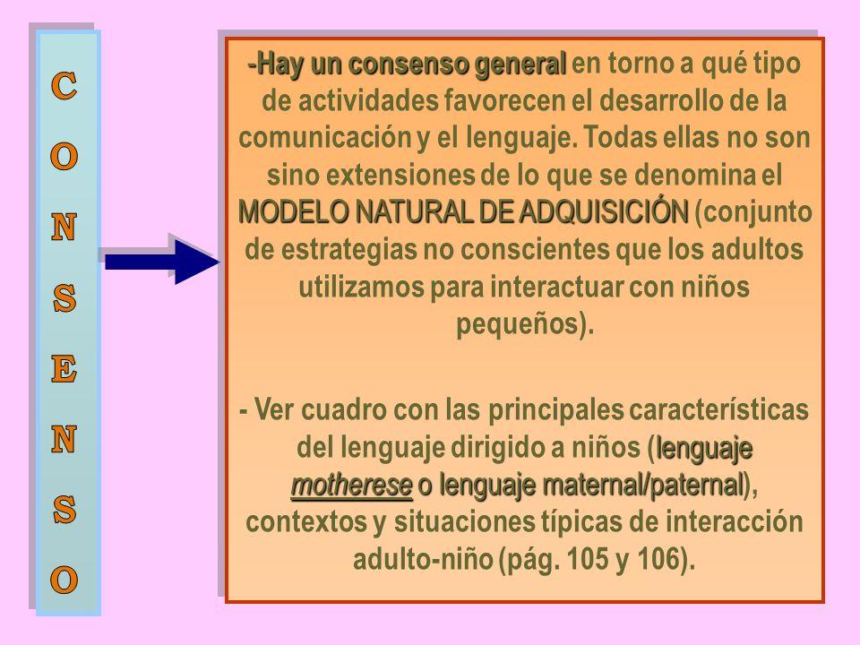 - Hay un consenso general MODELO NATURAL DE ADQUISICIÓN - Hay un consenso general en torno a qué tipo de actividades favorecen el desarrollo de la comunicación y el lenguaje.
