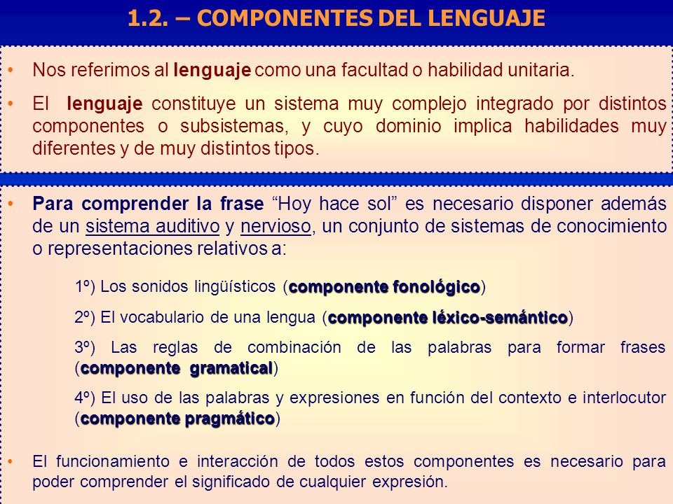 Nos referimos al lenguaje como una facultad o habilidad unitaria.