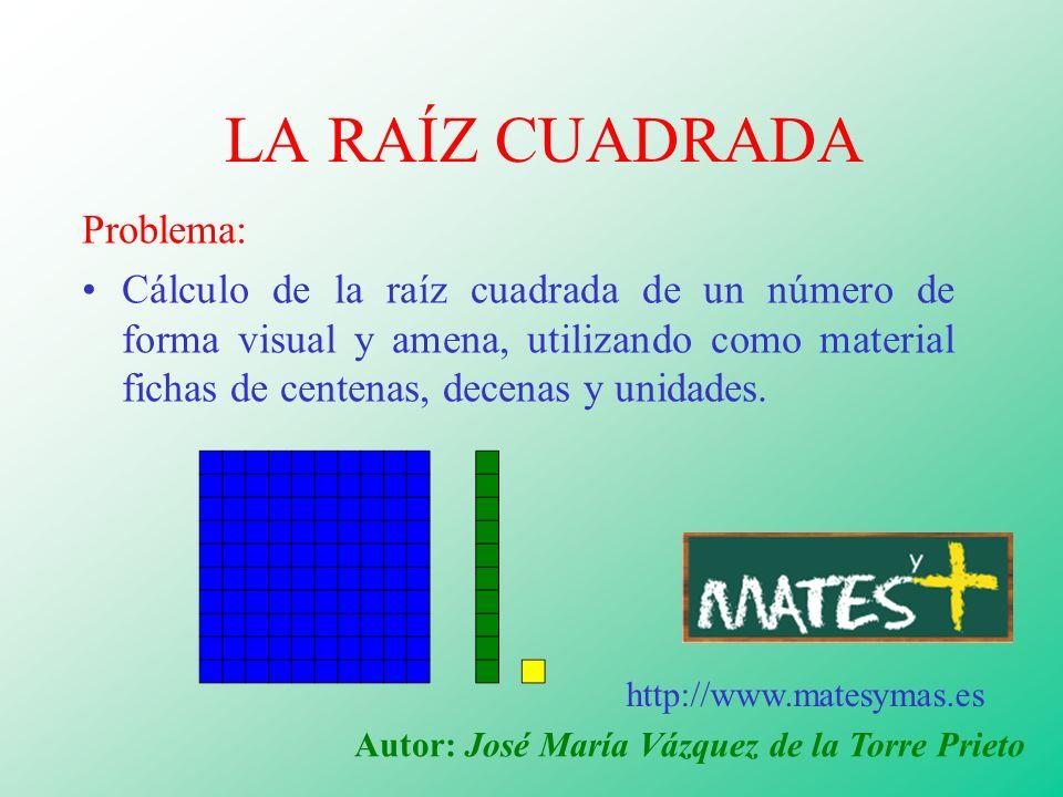 LA RAÍZ CUADRADA Problema: Cálculo de la raíz cuadrada de un número de forma visual y amena, utilizando como material fichas de centenas, decenas y un