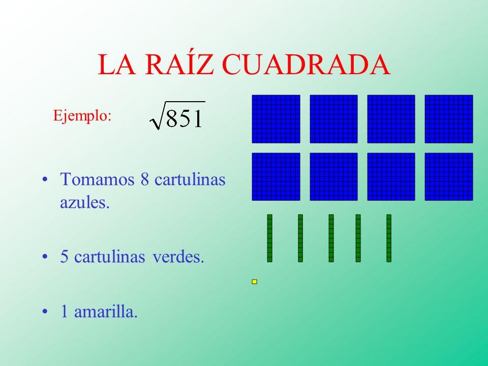 LA RAÍZ CUADRADA Tomamos 8 cartulinas azules. 5 cartulinas verdes. 1 amarilla. Ejemplo:
