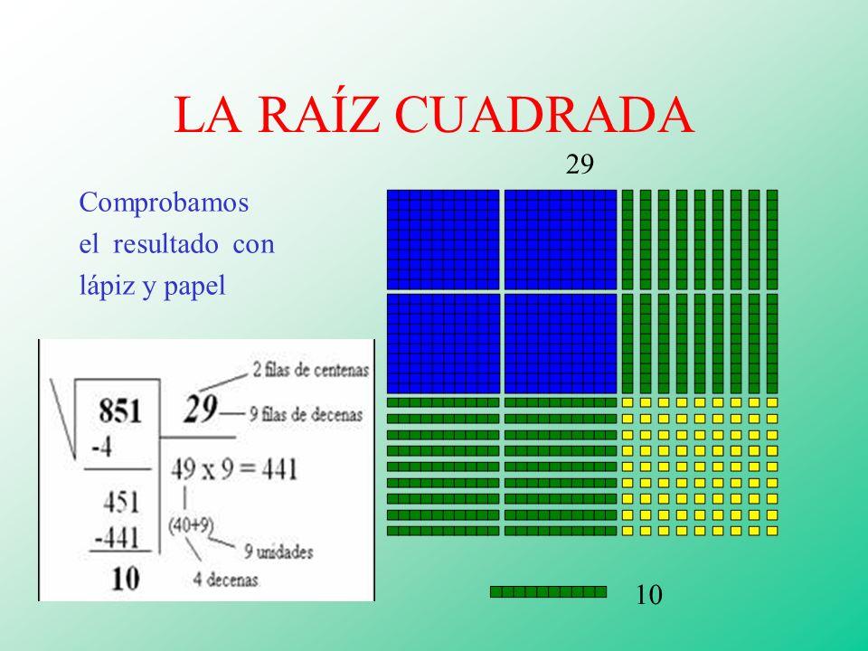 LA RAÍZ CUADRADA Comprobamos el resultado con lápiz y papel 29 10
