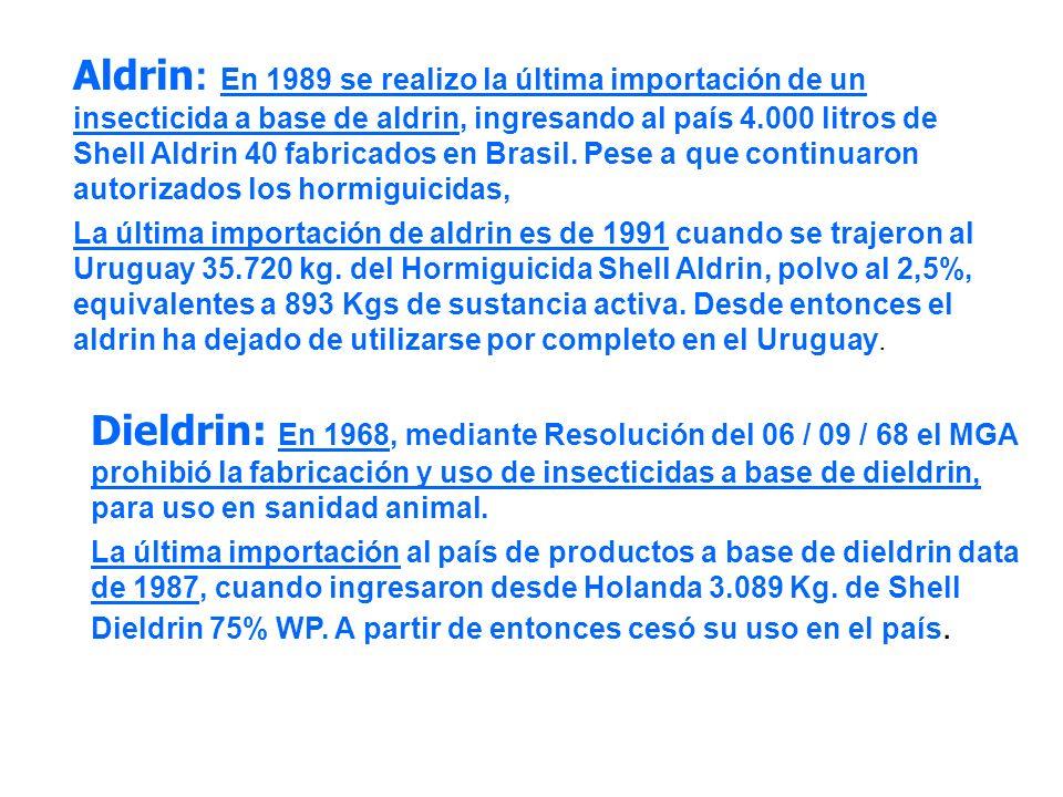 Aldrin : En 1989 se realizo la última importación de un insecticida a base de aldrin, ingresando al país 4.000 litros de Shell Aldrin 40 fabricados en
