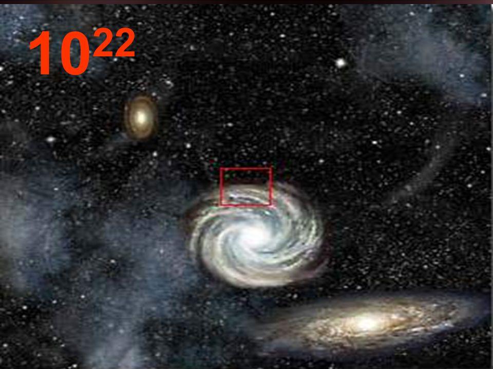 Desde esta distancia del punto de partida, las galaxias parecen pequeños conglomerados y, entre ellas, inmensos espacios vacíos.