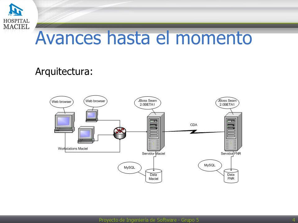 Proyecto de Ingeniería de Software - Grupo 5 4 Avances hasta el momento Arquitectura:
