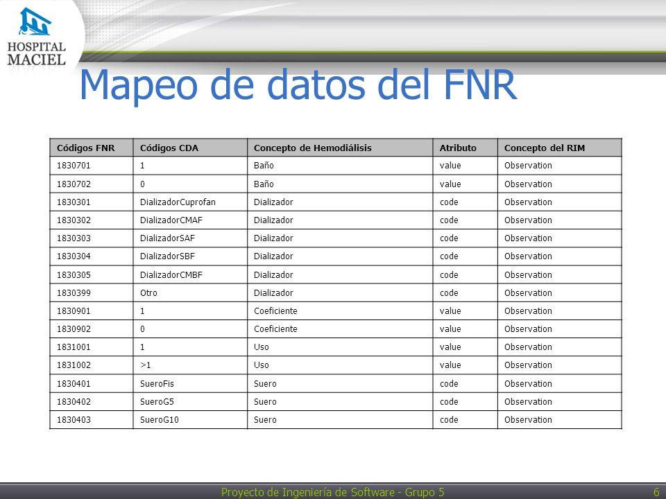 Proyecto de Ingeniería de Software - Grupo 5 7 Mapeo de datos del FNR Códigos FNRCódigos CDAConcepto de HemodiálisisAtributoConcepto del RIM 1830404SueroG30SuerocodeObservation 1830405SueroBic1/6SuerocodeObservation 1830406SueroBicSuerocodeObservation 1830407SueroColSuerocodeObservation 1830101MedAntialergicosAntialérgicoscodeObservation 1830102MedAntitermoanalgesicosAntitermoanalgésicoscodeObservation 1830103MedAnalgesicosMayoresAnalgésicos MayorescodeObservation 1830104MedAntihemeticosAntiheméticoscodeObservation 1830105MedAntiespasmodicosAntiespasmódicoscodeObservation 1830106MedAntibioticosAntibióticoscodeObservation 1830107MedAntiarritmicosAntiarrítmicoscodeObservation 1830108MedAntianginososAntianginososcodeObservation 1830109AntiH2 codeObservation 1830110MedCorticoidesCorticoidescodeObservation 1830111MedCloruroNaCloruro de sodiocodeObservation